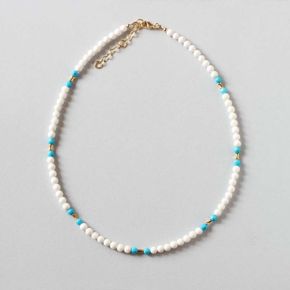 Tridacna and Turquoise Necklace (Gold)