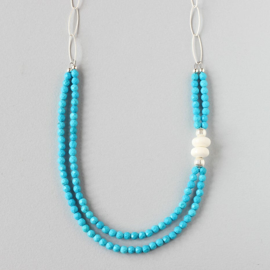 Turquoise and Tridacna Double Necklace (Silver with Chain)