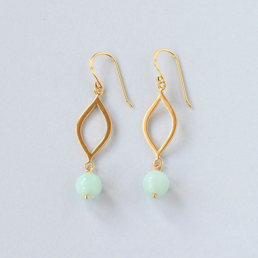 Amazonite Marquise Earrings (Gold)