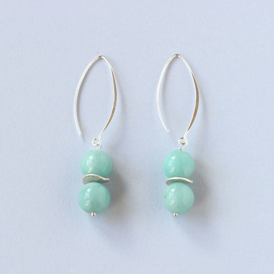 Blue Chalcedony Drop Earrings (Silver)