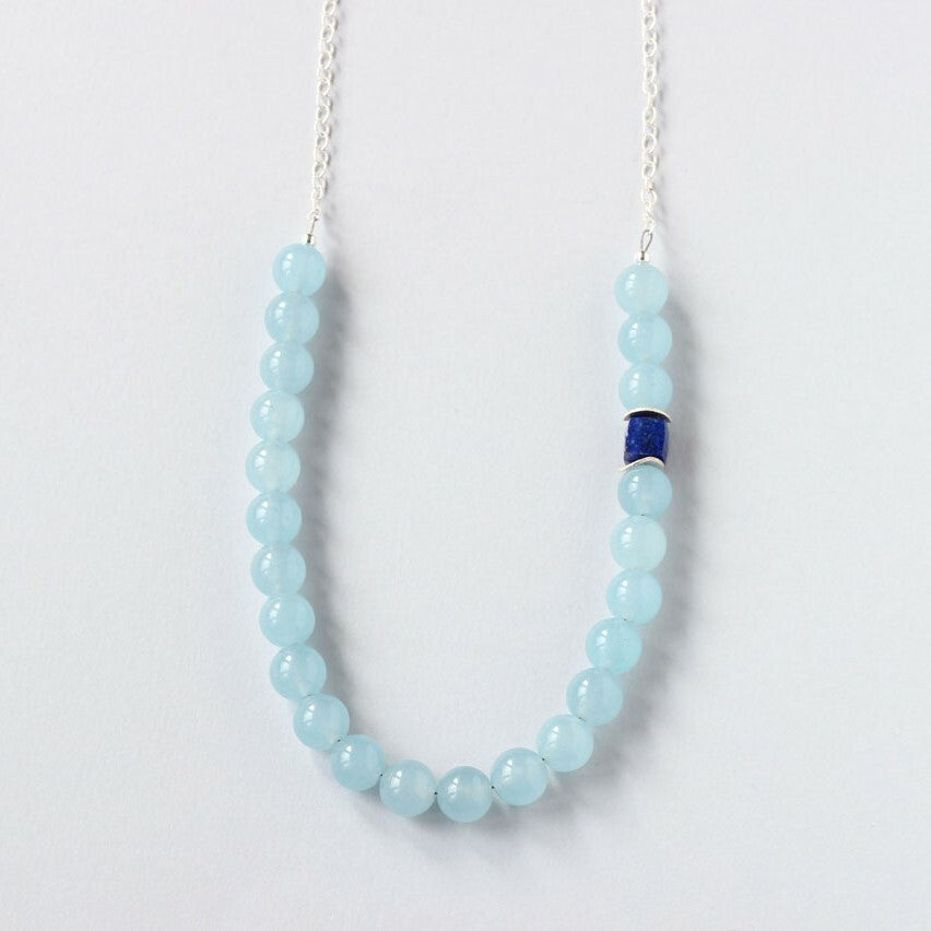 Blue Chalcedony & Lapis Lazuli Necklace (Silver with Chain)