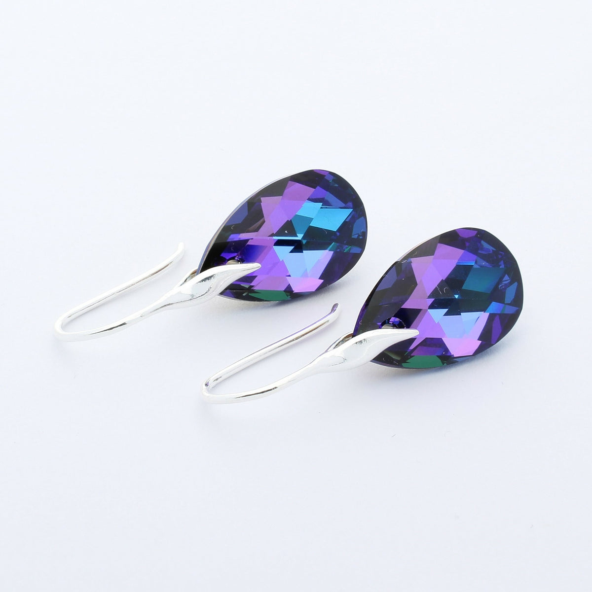 Heliotrope Pear Drop Earrings (Silver)