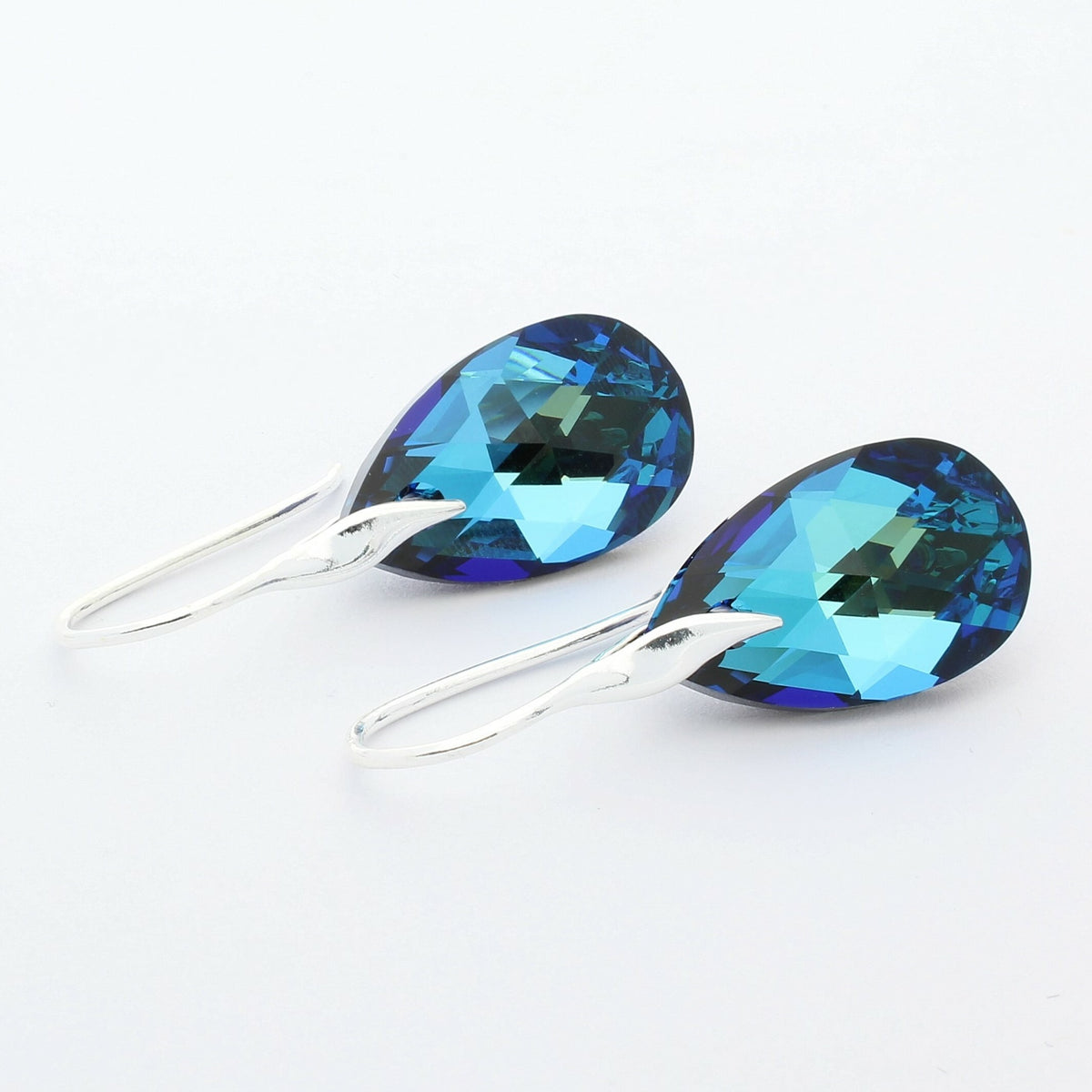 Bermuda Blue Pear Drop Earrings (Silver)