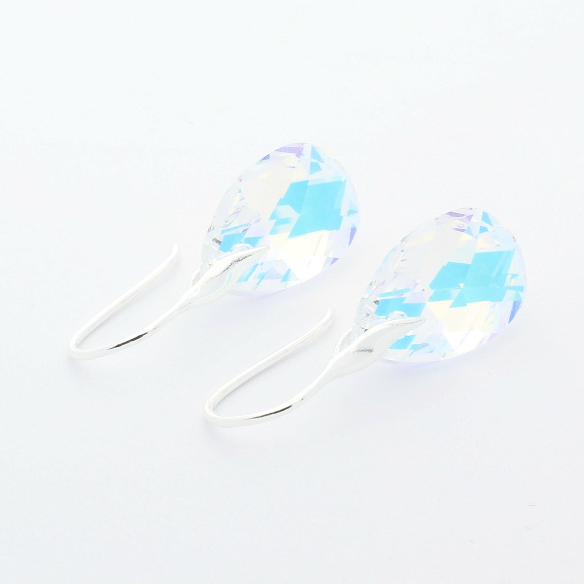 Crystal Blue AB Pear Drop Earrings (Silver)