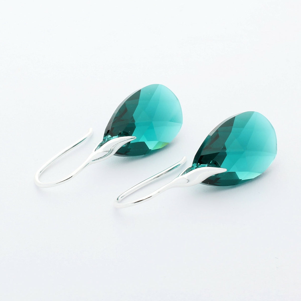 Emerald Pear Drop Earrings (Silver)