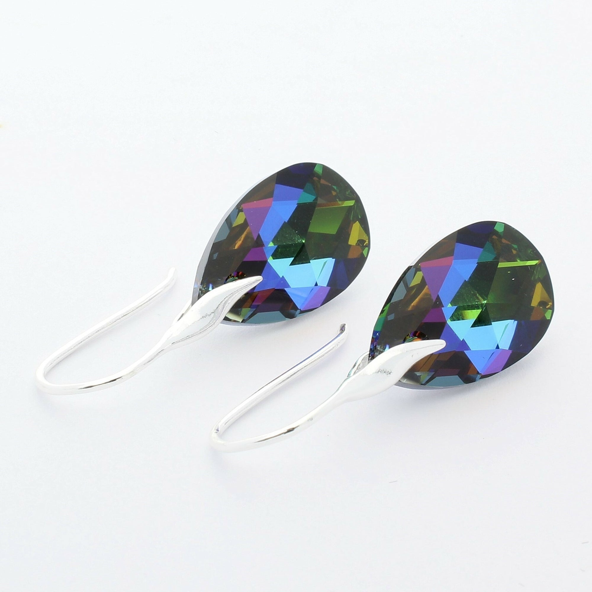 Meridian Blue Pear Drop Earrings (Silver)
