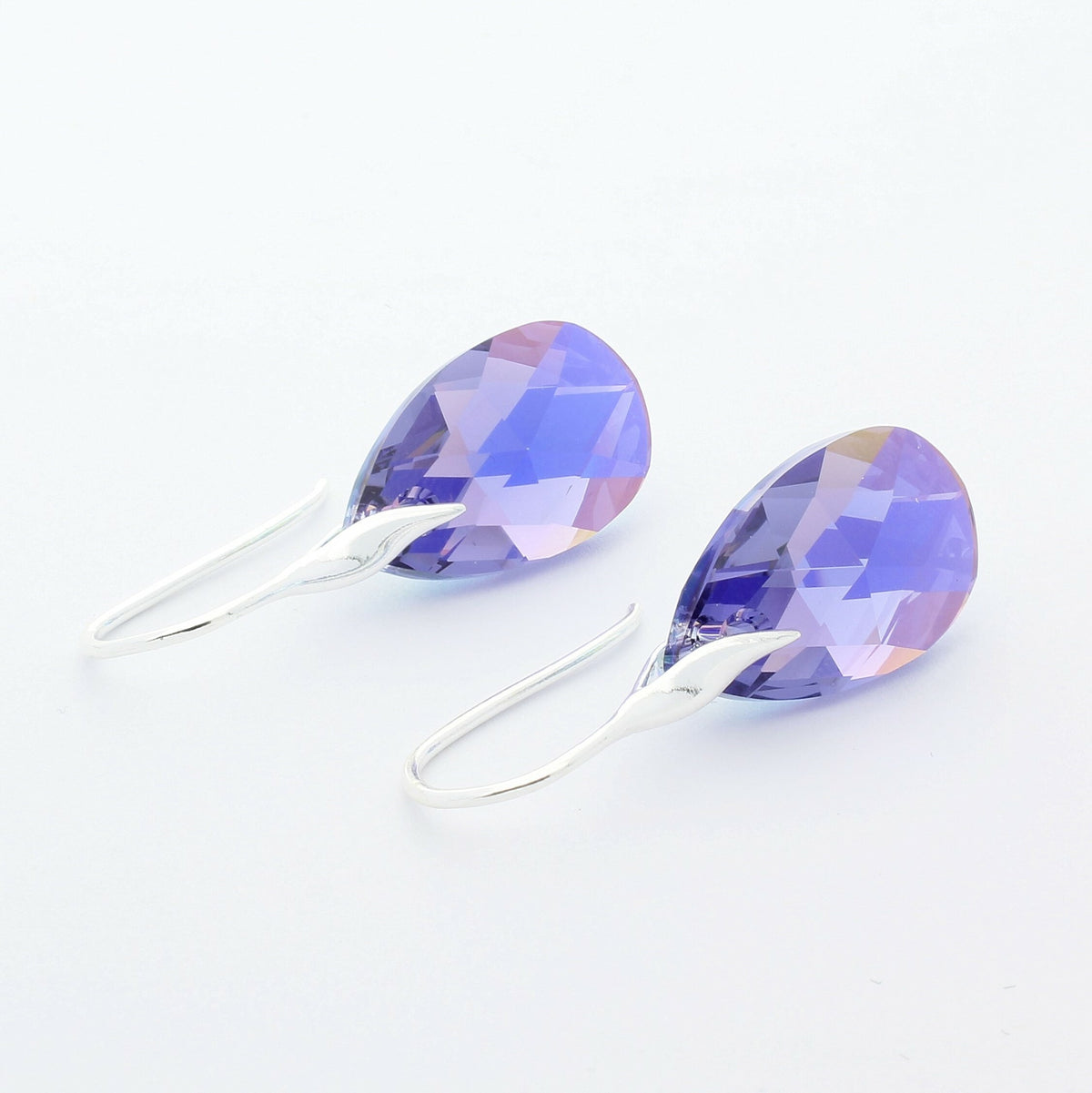 Tanzanite AB Pear Drop Earrings (Silver)