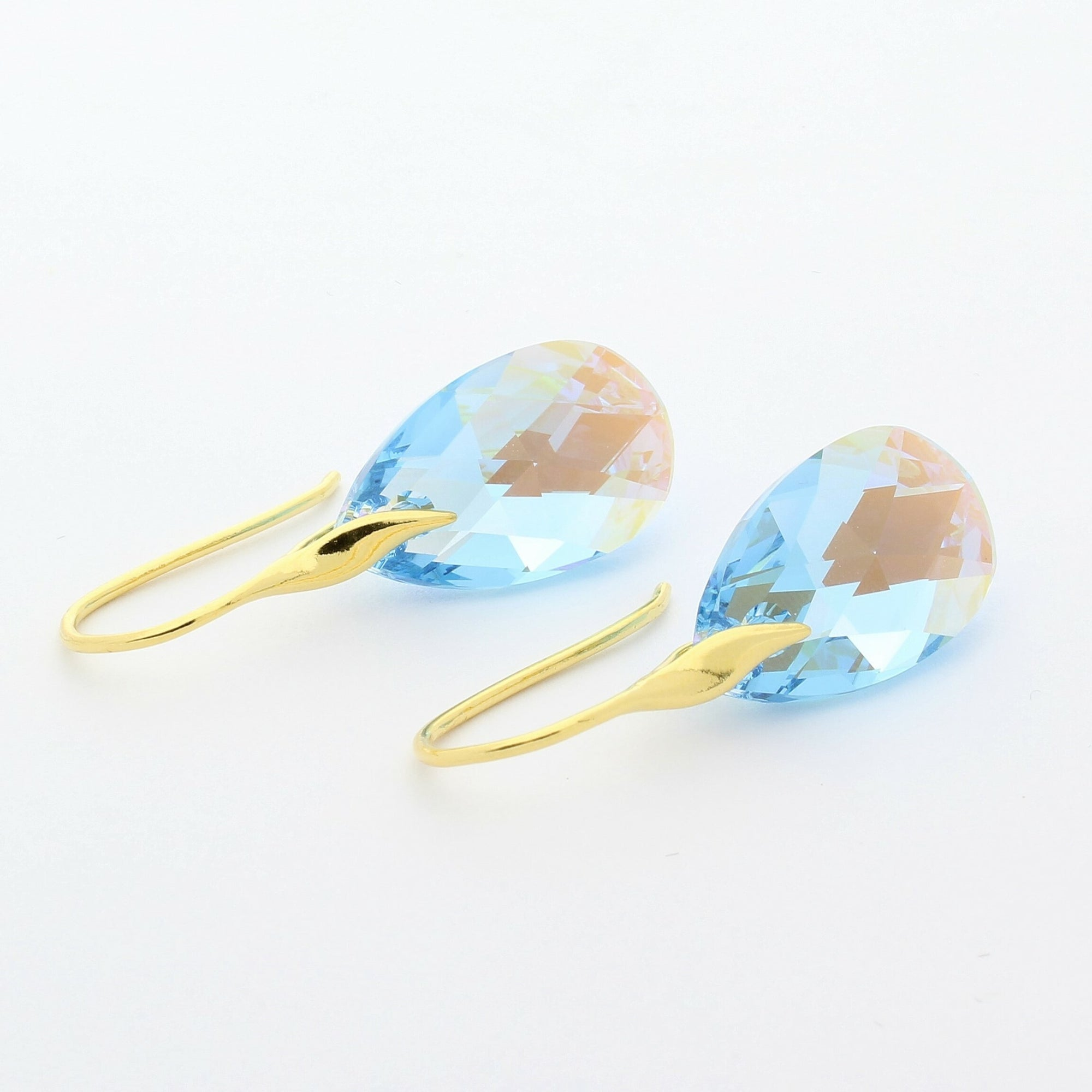 Aquamarine Blue AB Pear Drop Earrings (Gold)