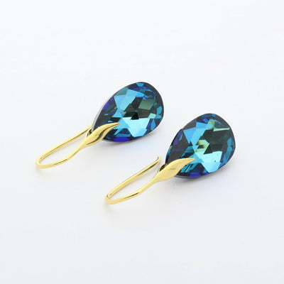 Bermuda Blue Pear Drop Earrings (Gold)