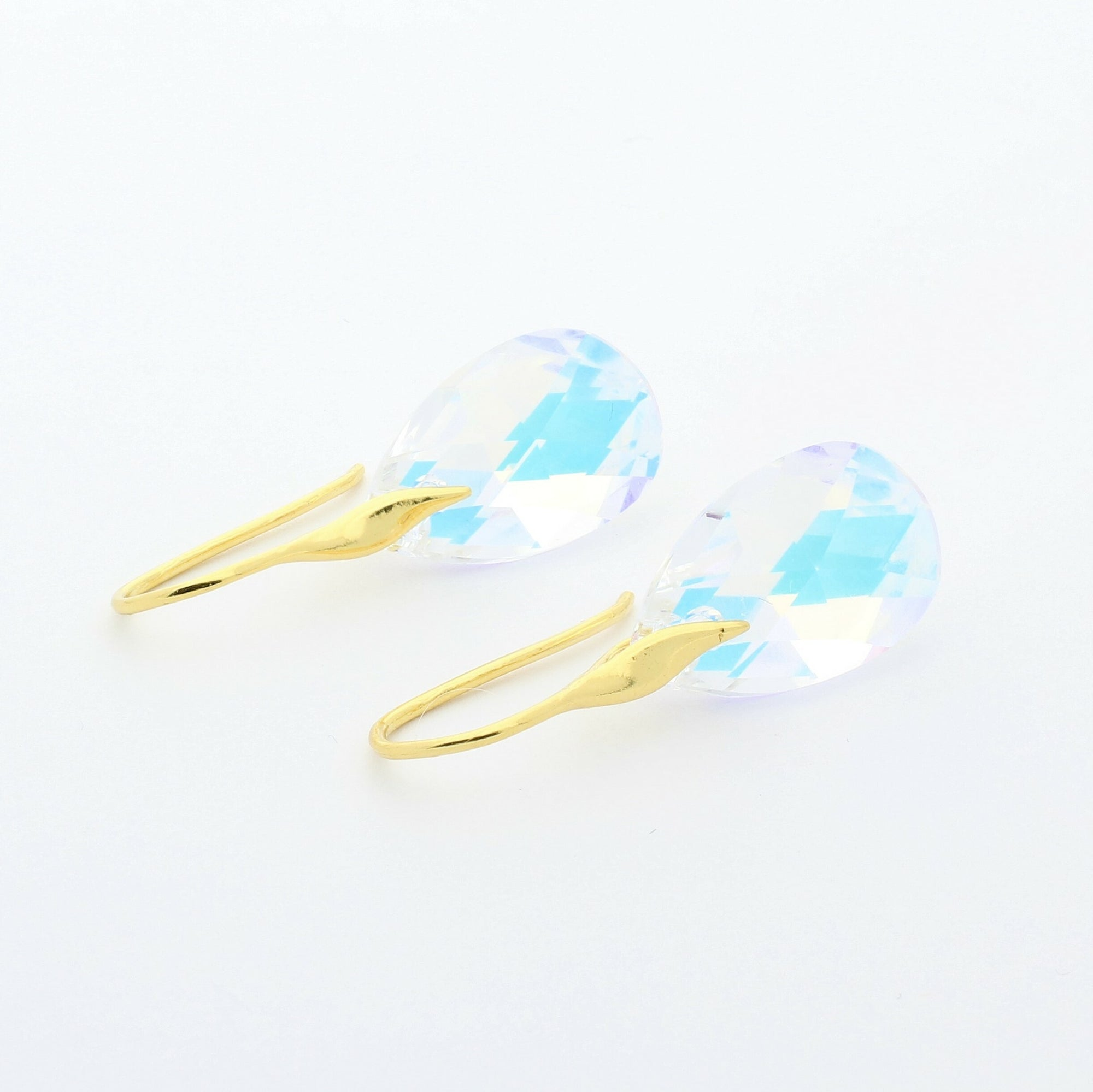 Crystal Blue AB Pear Drop Earrings (Gold)