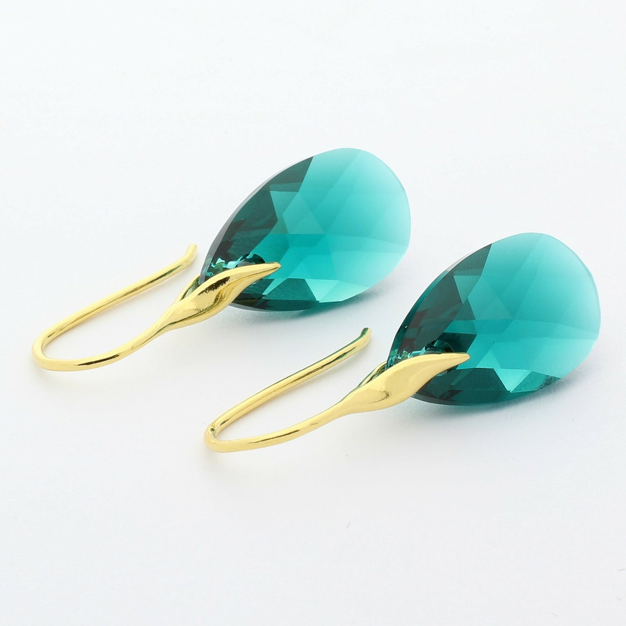 Emerald Pear Drop Earrings (Gold)