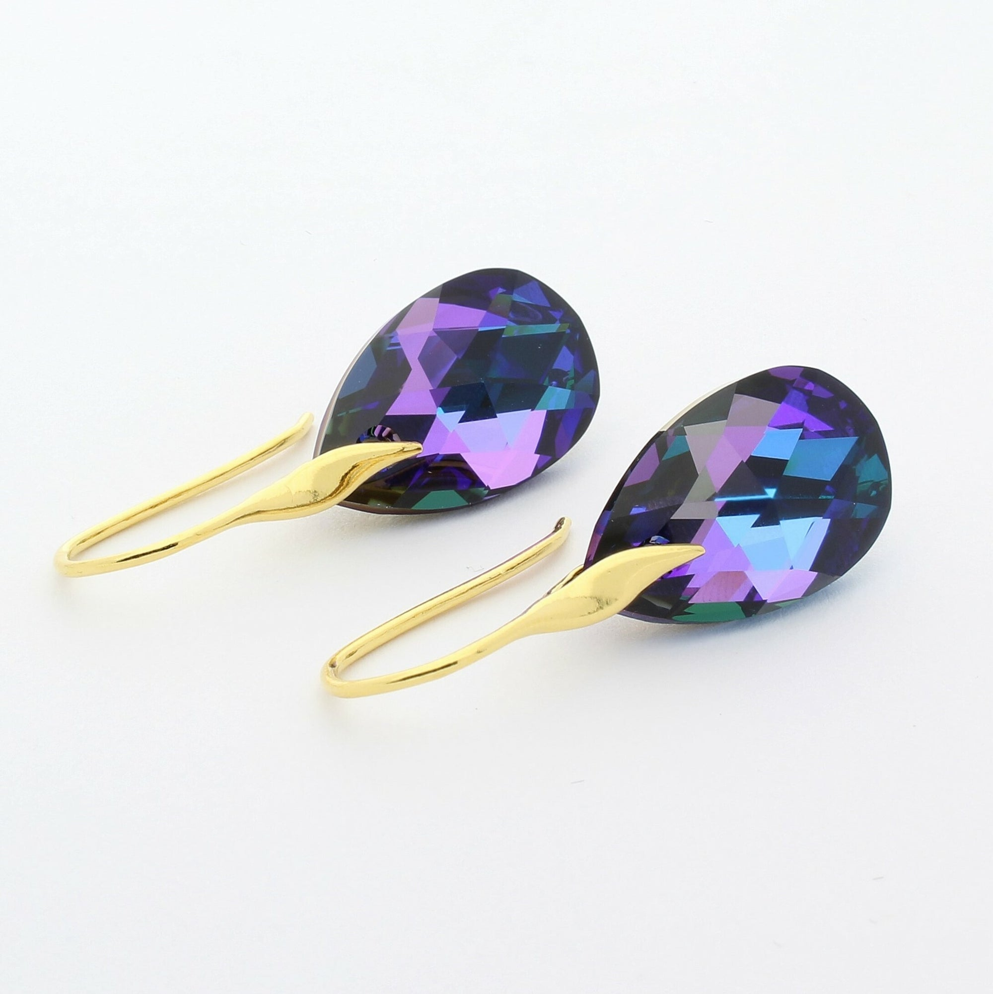 Heliotrope Pear Drop Earrings (Gold)