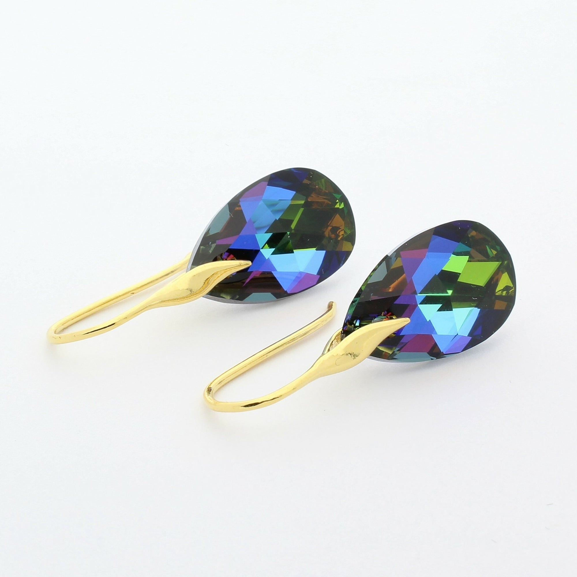 Meridian Blue Pear Drop Earrings (Gold)