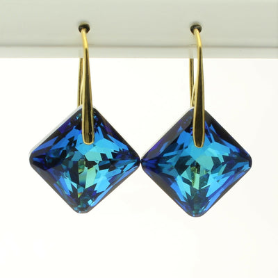 Bermuda Blue Princess Drop Earrings (Gold)