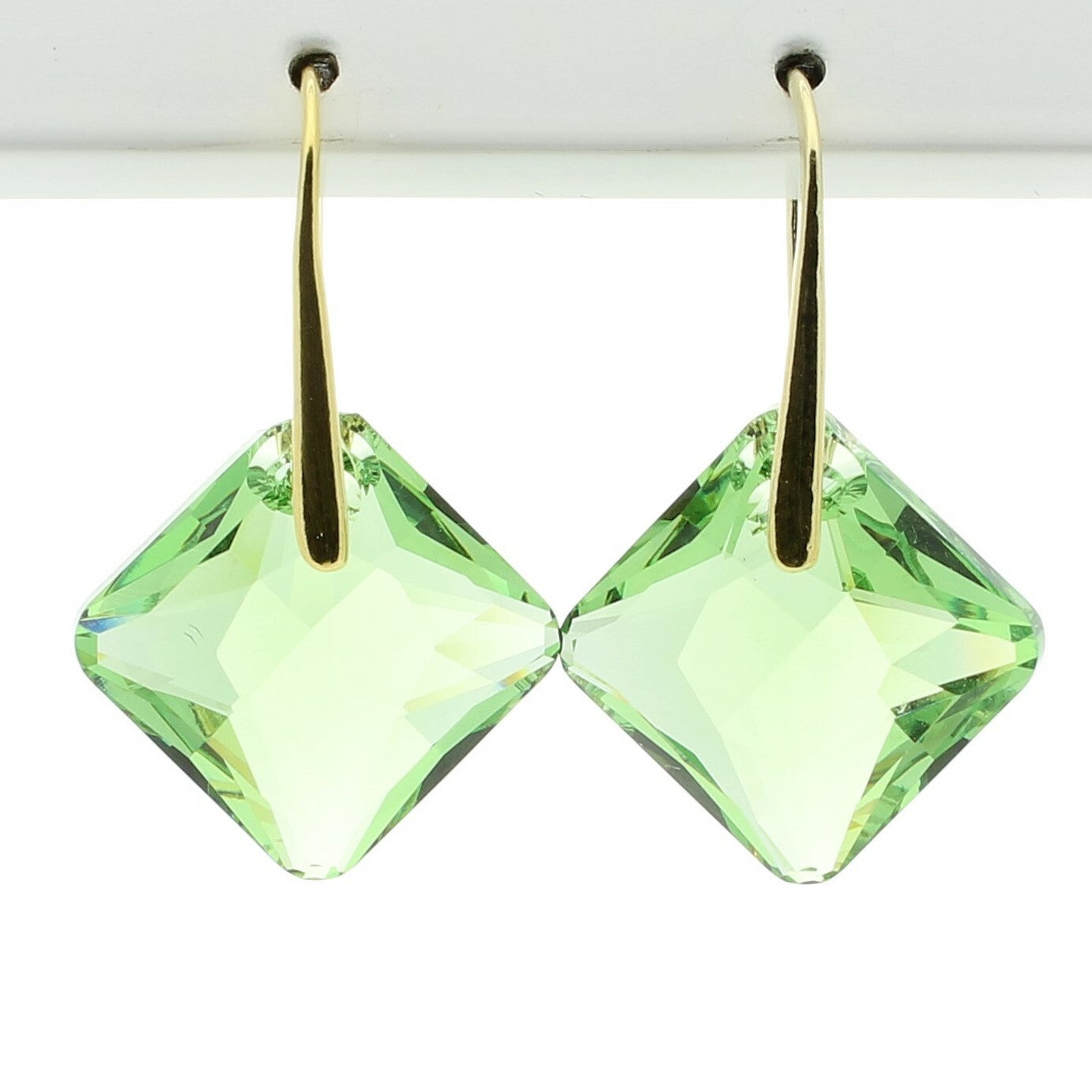 Peridot Princess Drop Earrings (Gold)