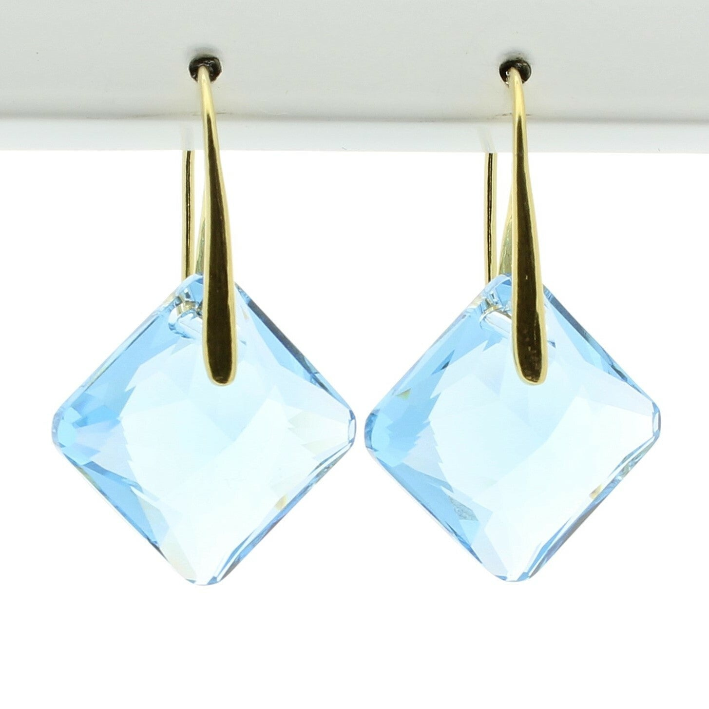 Aquamarine Princess Drop Earrings (Gold)