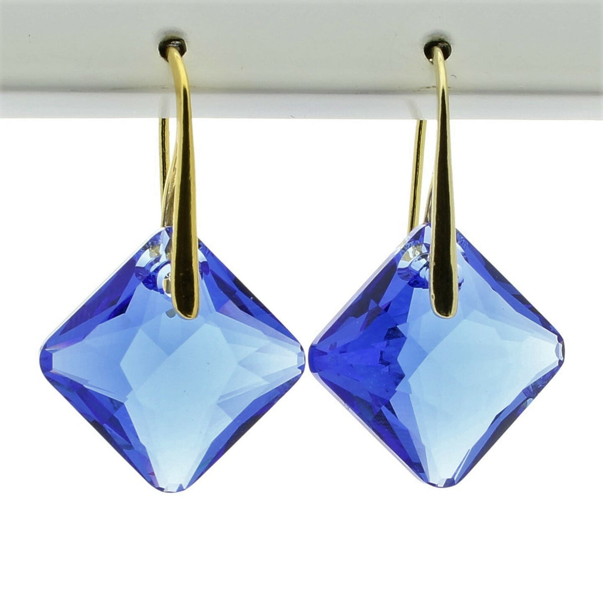 Sapphire Princess Drop Earrings (Gold)
