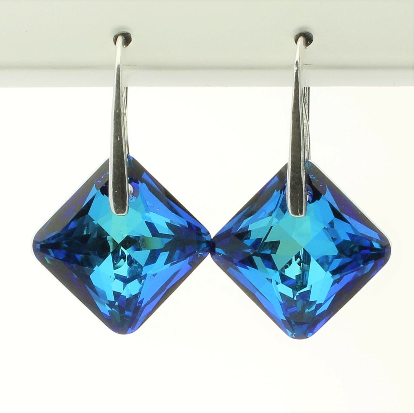 Bermuda Blue Princess Drop Earrings (Silver)