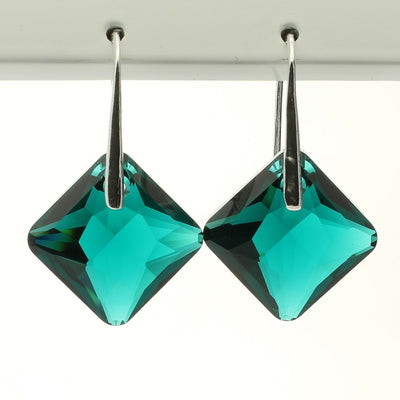 Emerald Princess Drop Earrings (Silver)