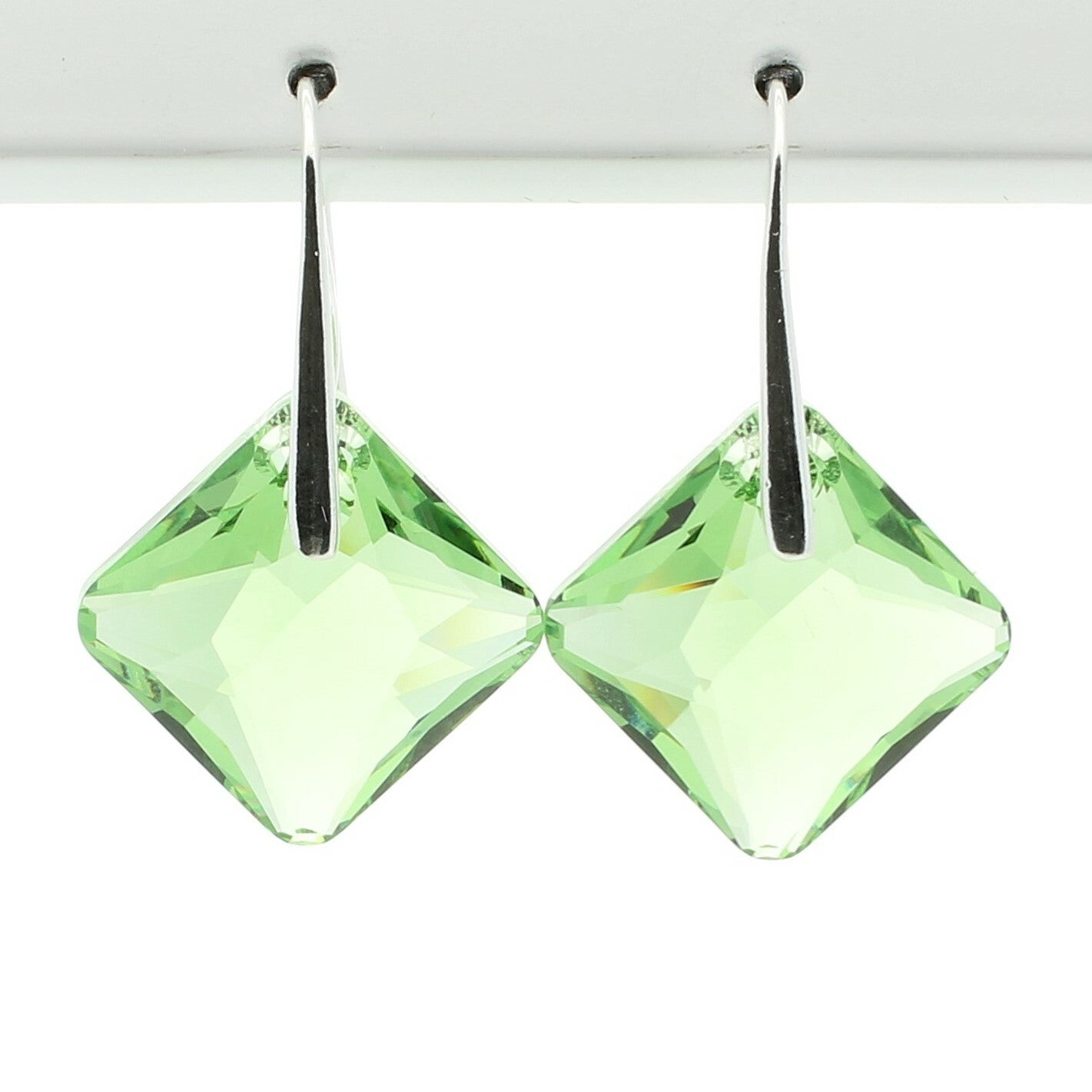Peridot Princess Drop Earrings (Silver)
