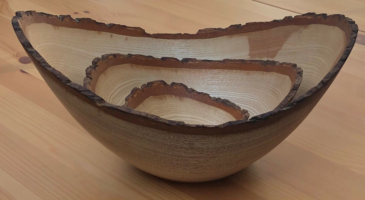 Set of 3 Nested Ash Bowls