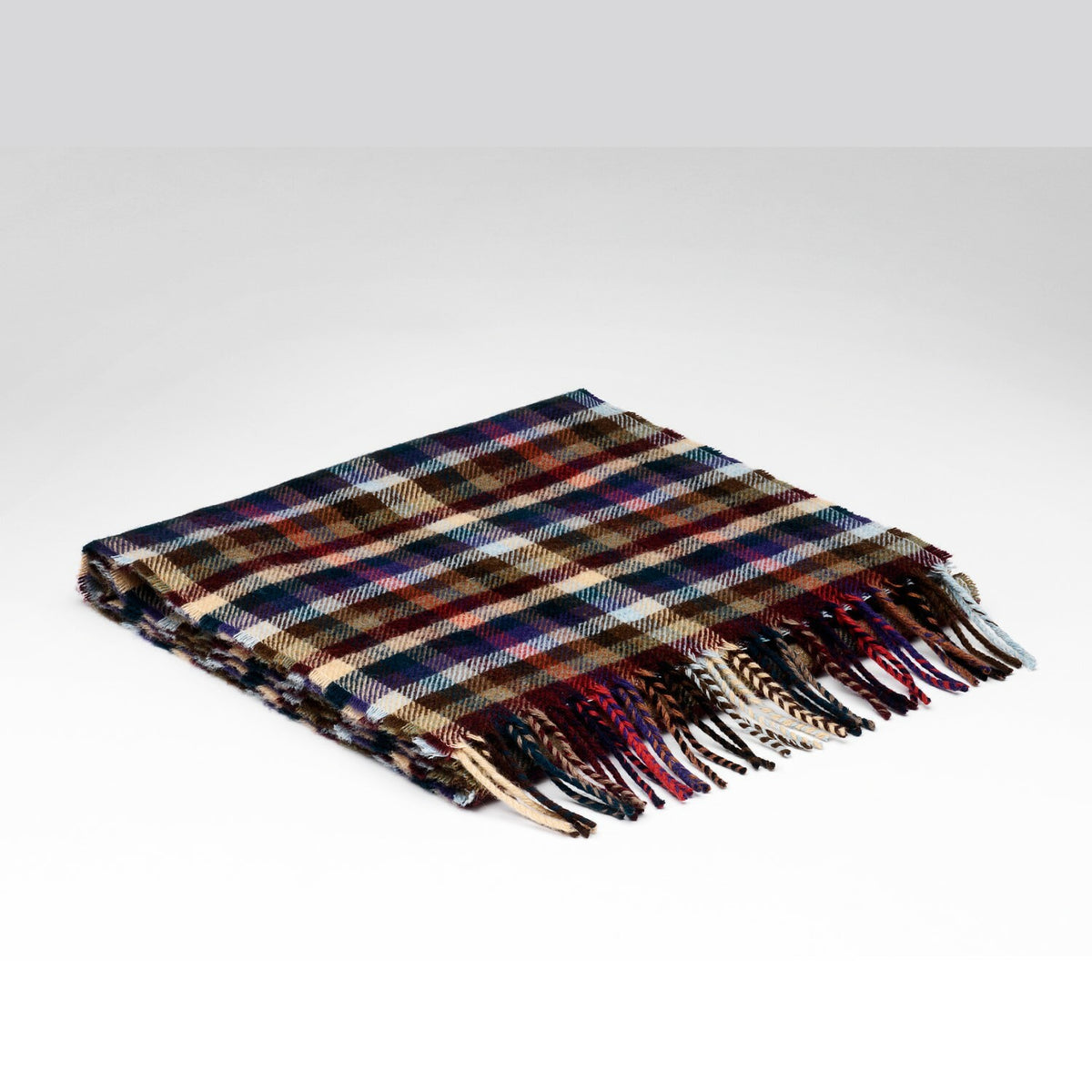 """Forest Check"" Lambswool Scarf with Gift Box"
