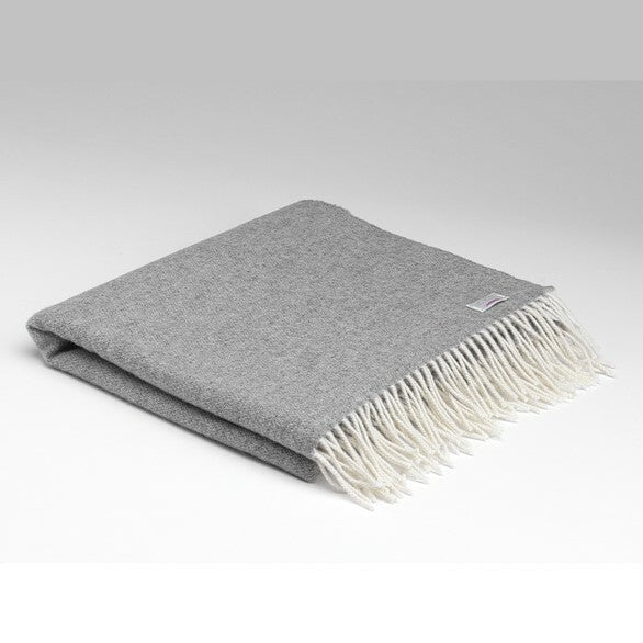 Grey and White Reversible Lambswool Pashmina