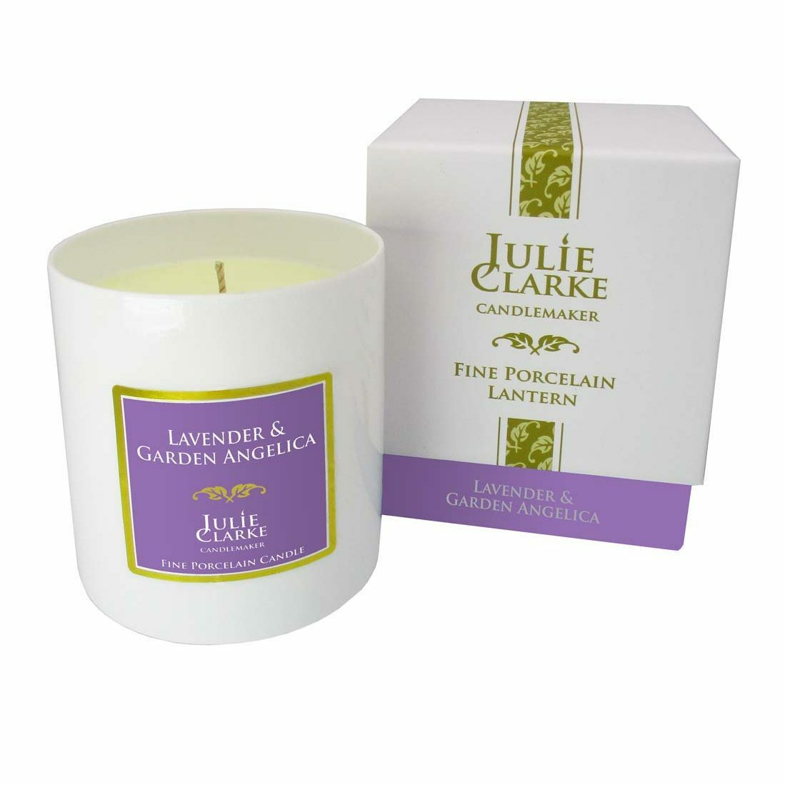 Lavender & Garden Angelica  White Porcelain Candle