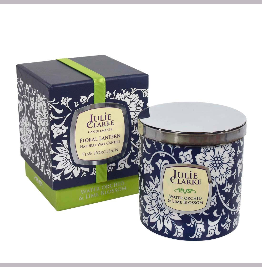 Water Orchid & Lime Blossom Floral Porcelain Candle