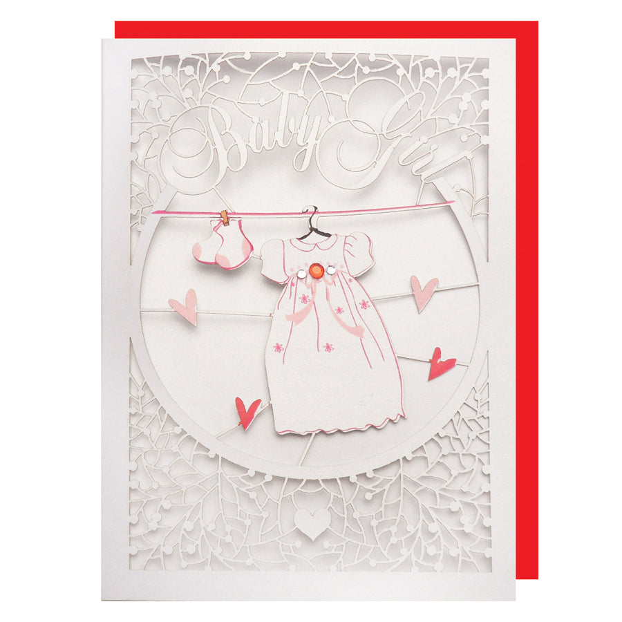 'Baby Clothes (Girl)' Card (FL047)