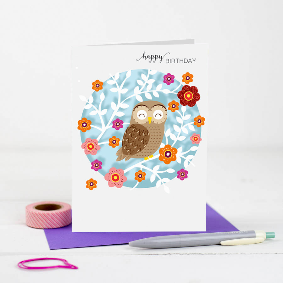 'Owl' Birthday Card (W001)