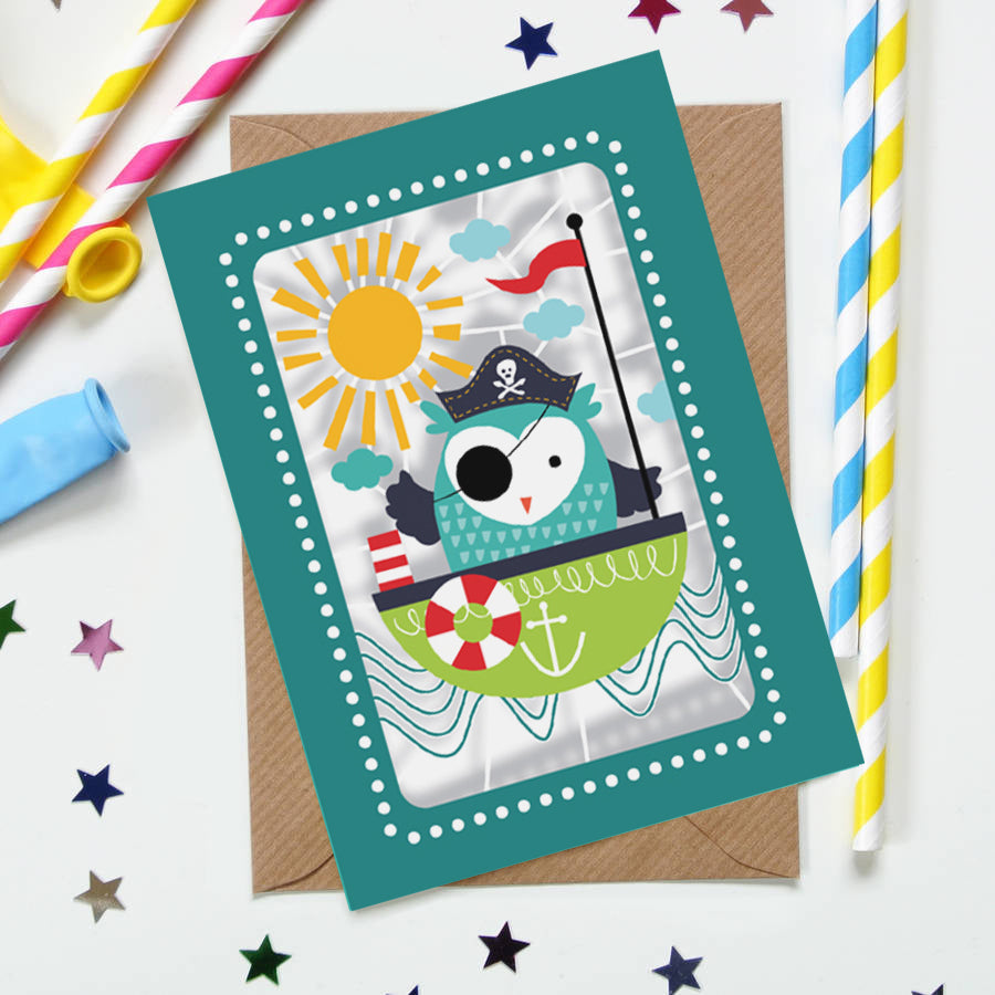 'Owl Pirate' Birthday Card (KE005)
