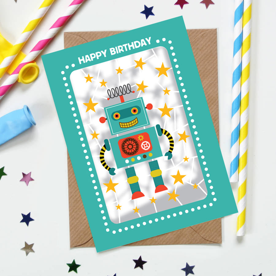 'Robot' Birthday Card (KE001)