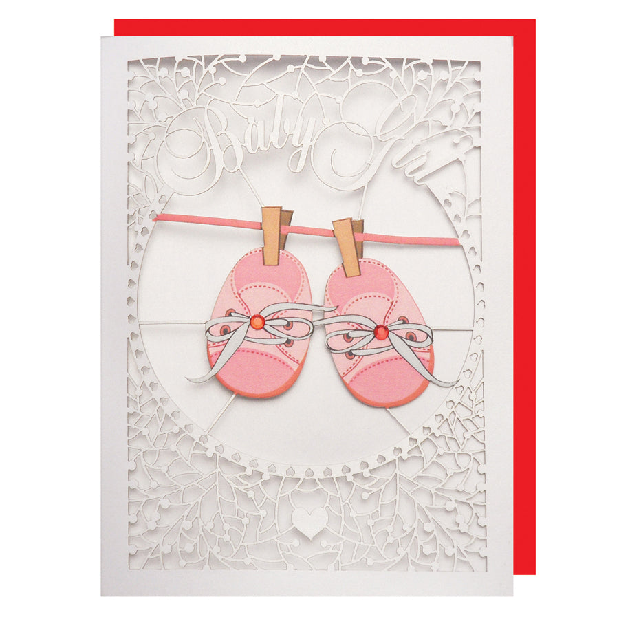 'Baby Booties (Girl)' Card (FL045)
