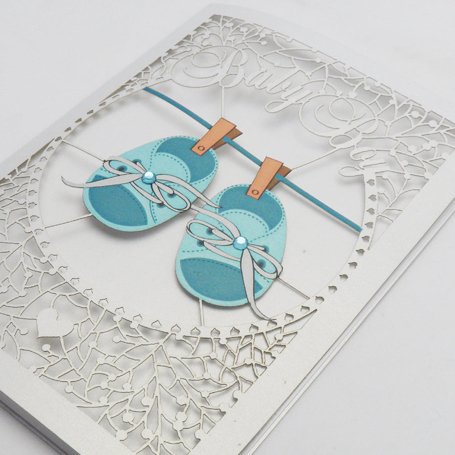 'Baby Booties (Boy)' Card (FL044)