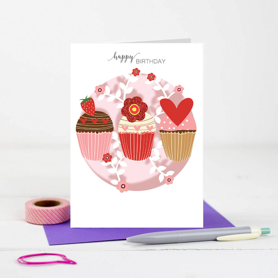 'Cupcakes' Birthday Card (W008)