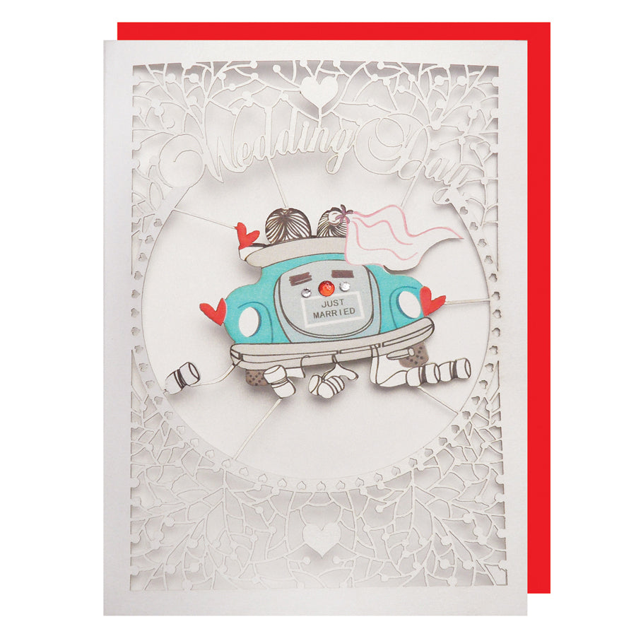 'Just Married' Wedding Card (FL052)