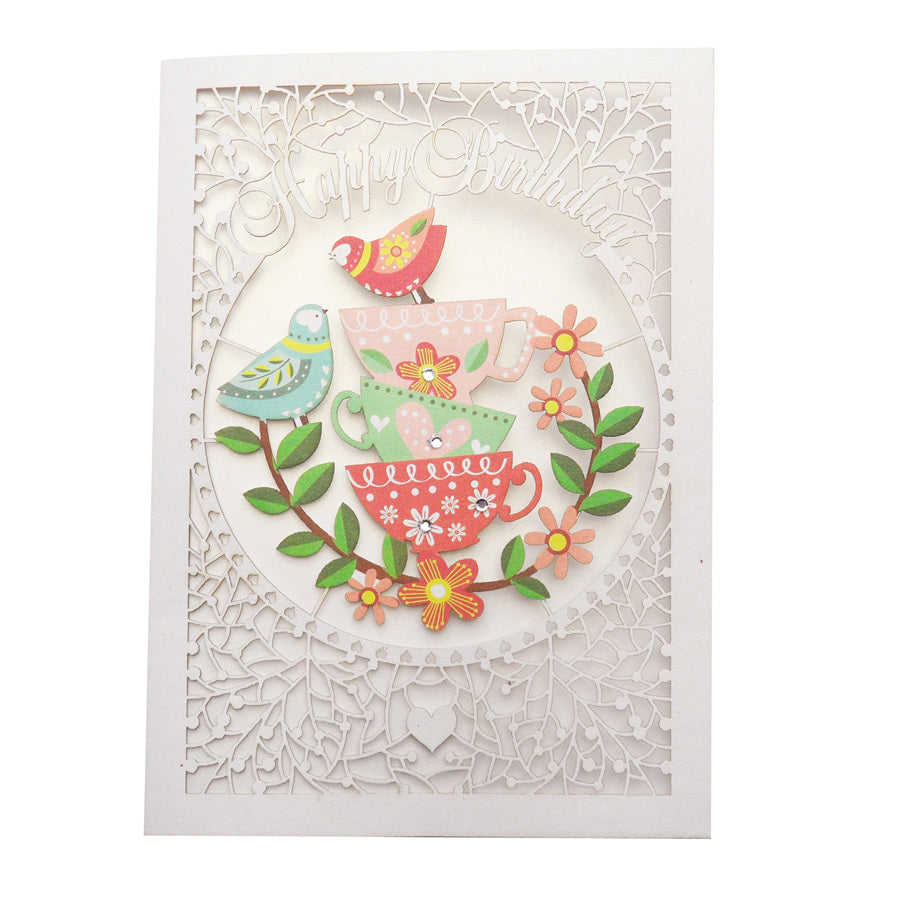 'Teacups' Birthday Card (FL007)