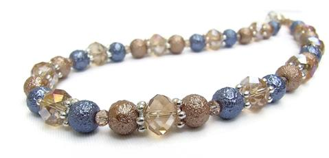 Mishe Crystal and Textured Glass Pearl Necklace