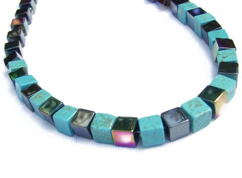 Mishe Rainbow Hematite and Regalite Cubes Necklace