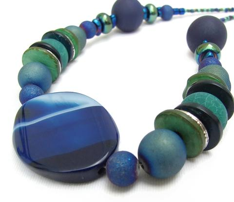 Mishe Blue and Green Agate Necklace
