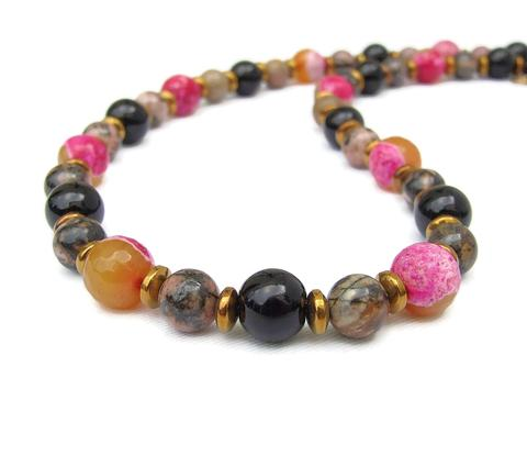 Mishe Pink, Orange and Gold Gemstone Bracelet