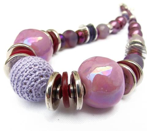 Mishe Pink and Wine Gemstone Necklace