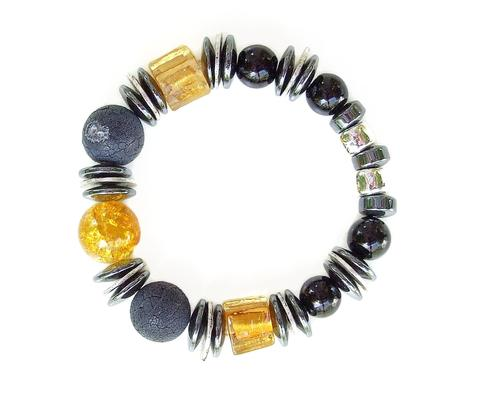 Mishe Black/Gold Murano Style Glass and Agate Bracelet
