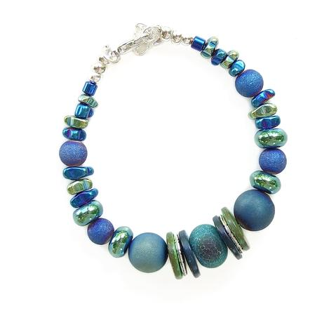 Mishe Blue and Green Gemstone Bracelet