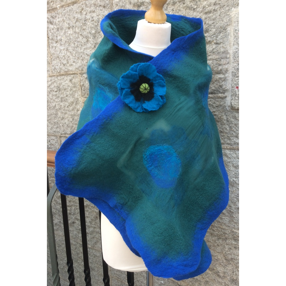 'Blue Green' Luxury Handmade Scarf