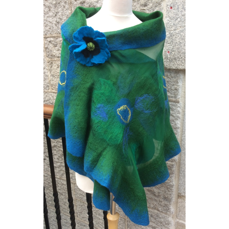 'Blue Lagoon,' Luxury Handmade Scarf