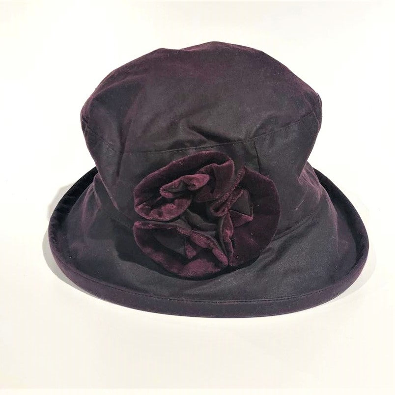 Waxed Cotton Hat 'Burgundy Flowers '