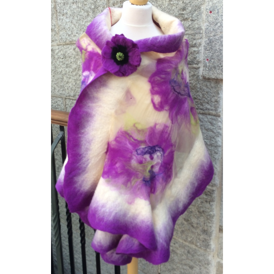 'Cream and Lilac' Luxury Handmade Scarf