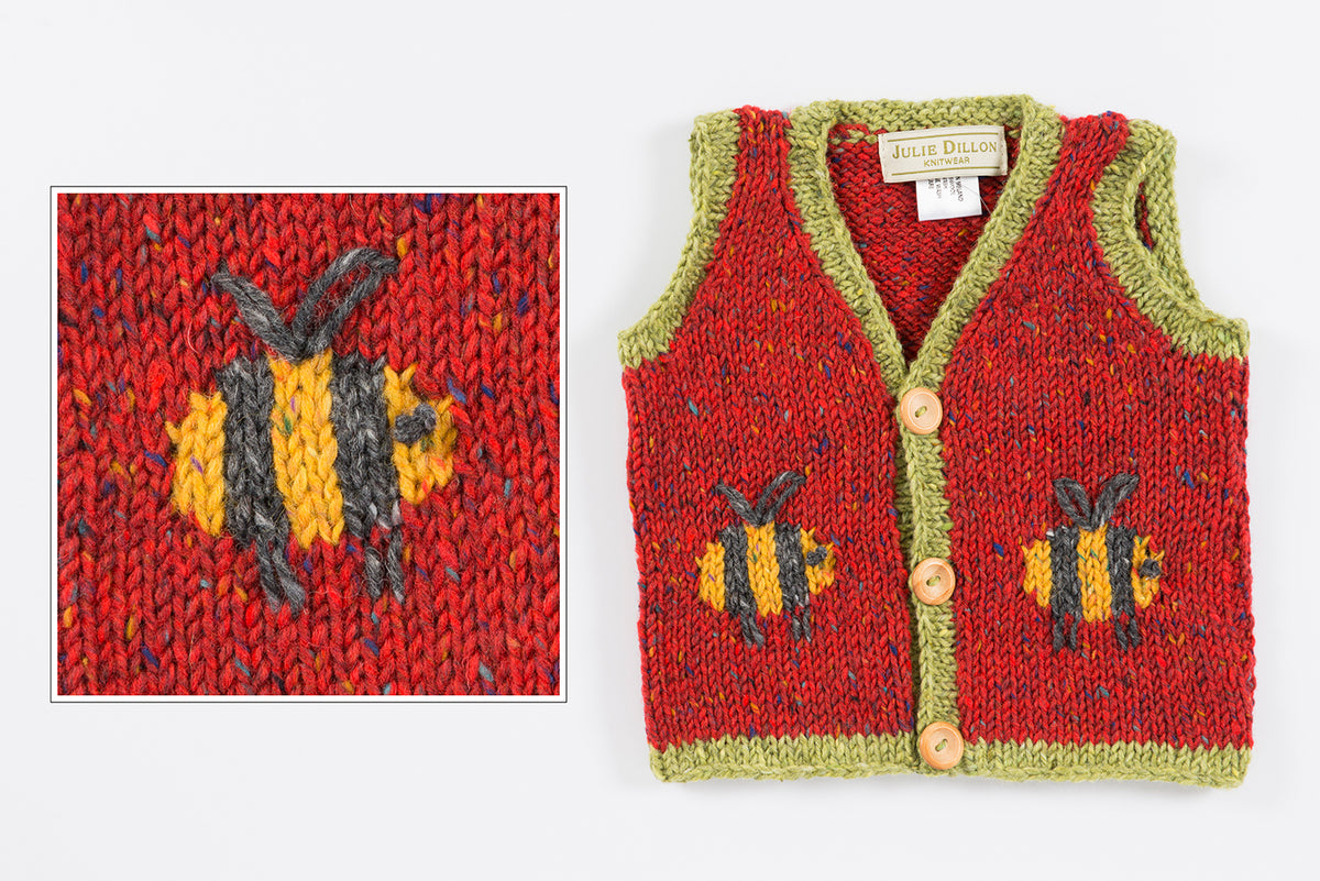 Handknitted Baby Waistcoat - Red with Bumble Bee motif